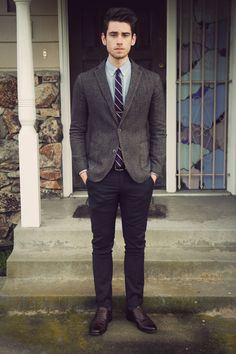 Grey blazer, blue shirt and black pants, smart and preppy, men's style