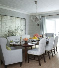 wingback chairs in the dining room