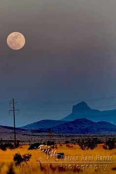 Moon Over Cathedral Mountain  Alpine, Texas  2011  by Warren Paul Harris