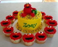 Elmo Cake and Cupcake Toppers by sweetenyourday on Etsy