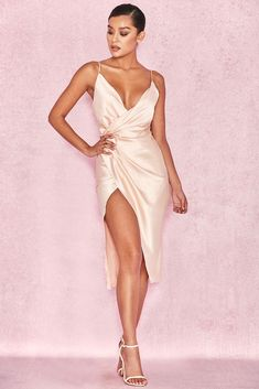 22ed9927336 Nude diaphanous satin and gorgeous draped silhouettes combine with our  amazing  Coco  gauzy nude satin wrap dress. Made from fine weightless satin.