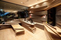 Immersive wooden interior design in modern topographic style