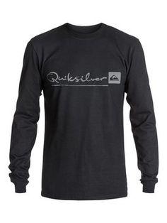 quiksilver, Men's Nomad Script Long Sleeve T-Shirt, Anthracite (kvj0)