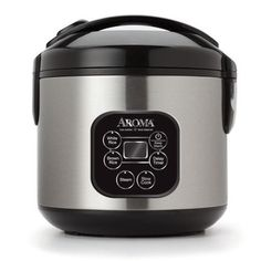 Aroma Professional 8 Cup Black & Stainless Cool Touch Digital Rice Cooker, Slow Cooker & Food Steamer ARC-934SBD