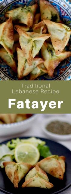 Fatayer (or fitiir) is a traditional Lebanese mezze that consists in a spinach stuffed turnover, also popular in Turkey and Middle Eastern countries. Lebanese Recipes, Turkish Recipes, Ethnic Recipes, Lebanese Fatayer Recipe, Lebanese Cuisine, Persian Recipes, Middle East Food, Middle Eastern Dishes, Middle Eastern Recipes