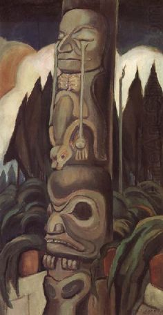 Vancouver Art Gallery - Emily Carr - The Crying Totem Tom Thomson, Canadian Painters, Canadian Artists, Native Art, Native American Art, Emily Carr Paintings, Vancouver Art Gallery, Jackson, Exhibition