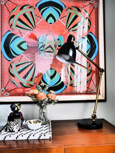 Frame a gorgeous vintage scarf above your desk or create a gallery wall full of the silk accessories for a very posh update to a boring wall. Hermes Home, Hermes Paris, E Design, Scarf Design, Wall Design, Nursery Wall Art, Nursery Decor, Framed Wall Art, Framed Fabric
