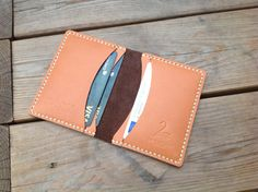 Minimalist 100% handmade card holder leather by TheBlackSwanKnives-SR