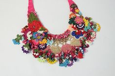 Crochet bib necklaces with gemstones and flowers of spring This unique necklace is made by Mrs. Bahar who is the member of our shop. It is certainly an unique product and there is no any other copy of it. Natural stones were used to make it much more valuable and unique. With little crochet
