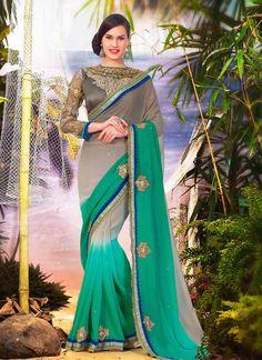 Affectionate Georgette Sea Green Designer Saree