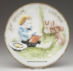 550: AN EASTER SERMON PLATE, opaque white/milk glass wi : Lot 550