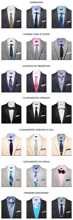 Casual and business combination of suit, necktie and shirts, for different occasions Gentleman Mode, Gentleman Style, Suit Fashion, Mens Fashion, Fashion Tips, Suit Guide, Style Masculin, Look Man, Men Formal