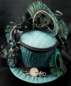 Mini Top Hat - Emerald Green Steampunk Time Machine watch face and key - Peacock Victorian Burlesque