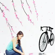 willow tree bicycle bike stickers wall sticker home decor diy adhesive art mural picture poster removable vinyl wallpaper AY931 #Affiliate