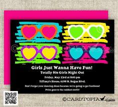 80s BIRTHDAY PARTY Invitations Totally 80s by CardtopiaCompany, $14.00