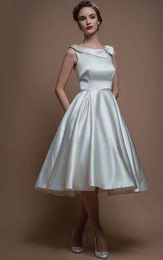 Shop affordable A-Line Sleeveless Tea-Length Bateau-Neck Satin Wedding  Dress With Broach at June Bridals! Over 8000 Chic wedding 7657ca9f603d6