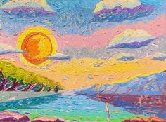 Original oil painting impressionist sunset sky Great Business Ideas, Modern Impressionism, Beautiful Sunrise, Sunset Sky, Solitude, Impressionist, Frame, Serenity, Oil On Canvas