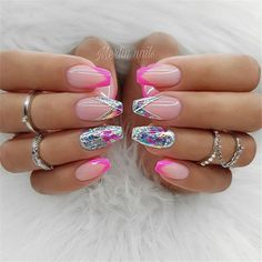 Wedding Natural Gel Nails Design Ideas For Bride 2019 - Nail Art - . - Wedding Natural Gel Nails Design Ideas For Bride 2019 - Nail Art - - Pink Gel Nails, My Nails, Acrylic Nails, Glitter Gel Nails, Sparkle Nails, Glam Nails, Neon Nails, Christmas Nail Art Designs, Christmas Nails