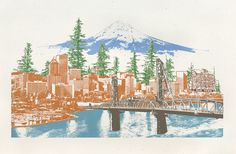 """Portland to Mt Hood"" - digital archival print"
