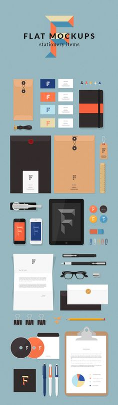 Free Flat Stationery MockUp Items
