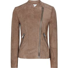 COLLARLESS SUEDE JACKET (2.290 BRL) ❤ liked on Polyvore featuring outerwear, jackets, suede leather jacket, suede jacket, brown jacket, brown suede jacket and collarless jackets