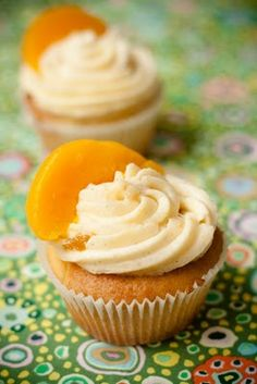 Peaches and Cream Cupcakes-airy vanilla cupcakes with hints of peach, topped with a vanilla buttercream frosting accented with peach jam. You get your fruit serving and dessert (; Baking Cupcakes, Cupcake Cookies, Cupcake Recipes, Dessert Recipes, Cupcake Ideas, Peach Cupcakes, Yummy Cupcakes, Vanilla Cupcakes, Ladybug Cupcakes