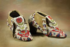 Sioux Wild West Woman's Beaded Shoes - High Noon Western Americana