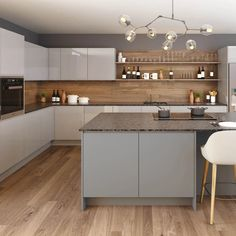 Light Grey Gloss Kitchen, High Gloss Kitchen Cabinets, Light Grey Kitchens, Kitchen Cabinet Styles, Kitchen Cabinet Doors, Kitchen Sale, Kitchen On A Budget, Kitchen Ideas, Latest Kitchen Trends