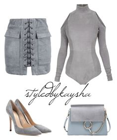 """""""SHADES OF GREY"""" by styledbykaysha on Polyvore featuring Balmain, WithChic, Gianvito Rossi and Chloé"""