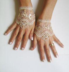 Black Light beige white  pink Wedding gloves