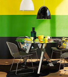 Black, Green, Yellow stripe painted wall
