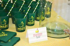 Master's Golf Birthday Party - Nico and Lala - Master's Golf Birthday Party Masters themed birthday cups - Golf First Birthday, Birthday Cup, Boy Birthday Parties, Birthday Party Invitations, Birthday Ideas, Kid Parties, Mouse Parties, 50th Birthday, Golf Party Favors