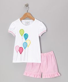 Take a look at this White Balloon Tee & Pink Ruffle Shorts - Infant, Toddler & Girls by Castles & Crowns on #zulily today!