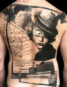 Trash polka art back tattoo