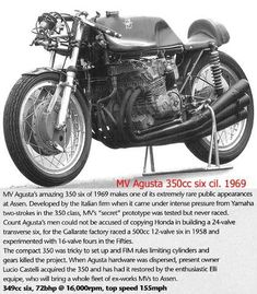 Read about this very rare MV Agusta 350 from the with 24 valves, 6 cylinders and it produced 72 BHP at rpm! Mv Agusta, Classic Bikes, Yamaha, Things To Come, Racing, 1960s, Motorcycles, Paintings, Running