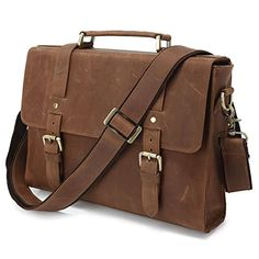 Mens Brown Crazy Horse Leather Tote Briefcase Shoulder Messenger Bags ** BEST VALUE BUY on Amazon