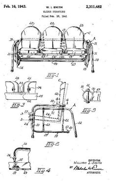 Hettrick Vintage Metal Lawn Chair patent. See history at the Herttrick page at www.midcenturymetal chairs.com