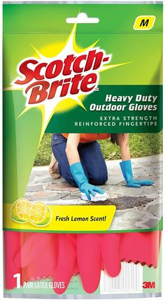 Scotch-Brite Heavy Duty Gloves (with Fresh Lemon Scent & Inner Cotton Lining for Comfort) Medium, Re & Microfiber Bathroom Wipe (Blue) Combo House Appliances, Latex Gloves, Lemon, Fresh, Home Appliances