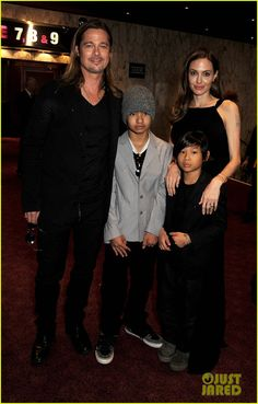 Angelina Jolie and Brad Pitt take their boys Maddox and Pax to the premiere of Brad's new movie World War Z on June 2, 2013