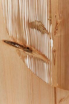 Lex Pott and New Window sandblast tree rings to pattern furniture collection