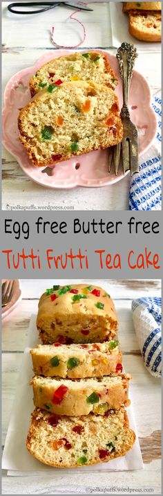 Moist, light and butter free recipe is perfect for that delicious slice of egg free tutti frutti cake to go with your cuppa! Eggless Desserts, Eggless Baking, Eggless Recipes, Vegetarian Recipes, Cooking Recipes, Baking Tins, Tutti Frutti, Tea Cakes, Egg Free