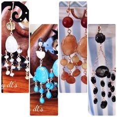 #summer #boho #style #Rosegold #Sterlingsilver # Gold #chandlier #earrings with #Agate #Aventurine # Aquamarine #Turqouise #simply #beautiful