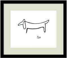 "You'll be glad you found this ""Le Chien"" print by Pablo Picasso. : <ul> <li>Reproduction displays true artistry.</li> <li>Dry-mounted paper prevents rippling.</li> <li>White matting offers subtle style.</li> <li>Black frame complements any decor.</li> <li>13""H x 15""W</li> <li>Horizontal display</li> <li>Attached hanging wire</li> <li>Artist: Pablo Picasso&l"