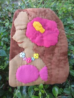 handmade Hawaii lady quilt applique cotton fabric coin cosmetic pouch purse bag #Handmade #CosmeticBags