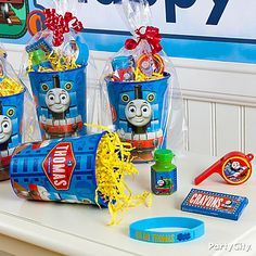 Fill up Thomas the Tank Engine party cups with fun cargo like crayons, bubbles, whistles and wristbands!
