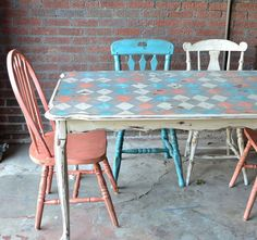 Recycled painted table kitchen dinning room On Hold