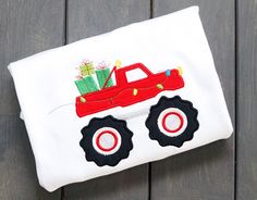 Christmas Monster Truck Boys Birthday Applique by PalmValleyKids