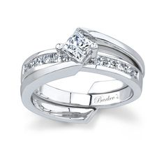 White gold diamond engagement ring set - 6029SW