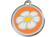 Personalized Pet ID Tag Dog Cat Kitten Animal Information Daisy Flower Design Pendant on Stainless Steel Enamel Size Small Orange Colored Background