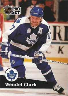 1991-92 Pro Set French #225 Wendel Clark Front Hockey Cards, Baseball Cards, Sport Icon, Toronto Maple Leafs, Trading Card Database, Nhl, French, Sports, Icons